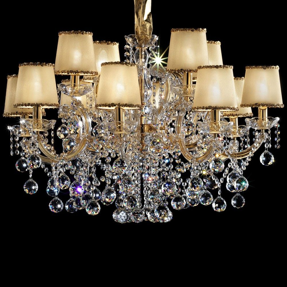 Masiero maria teresa gold plated chandelier with gold fabric masiero maria teresa gold plated chandelier with gold fabric lampshades aloadofball Image collections