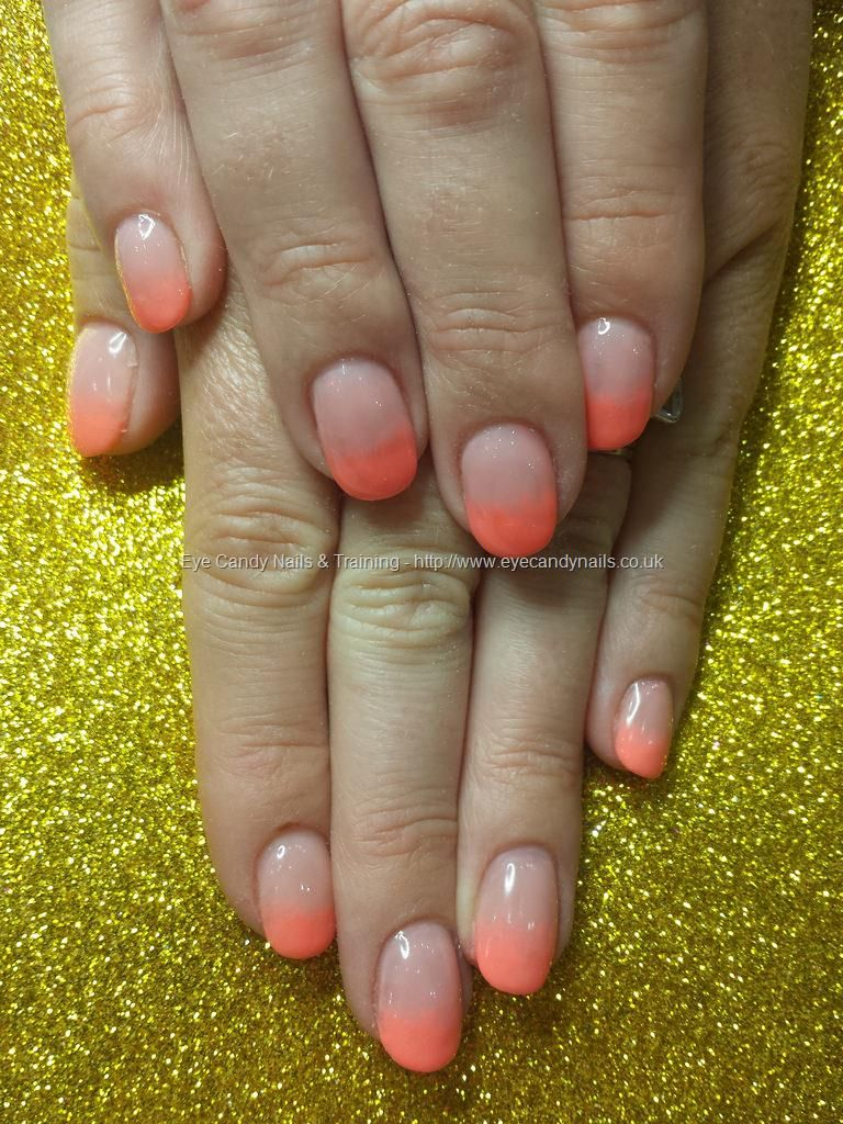 Strawberry slushie and ibd peach gel fade over acrylic nails ...