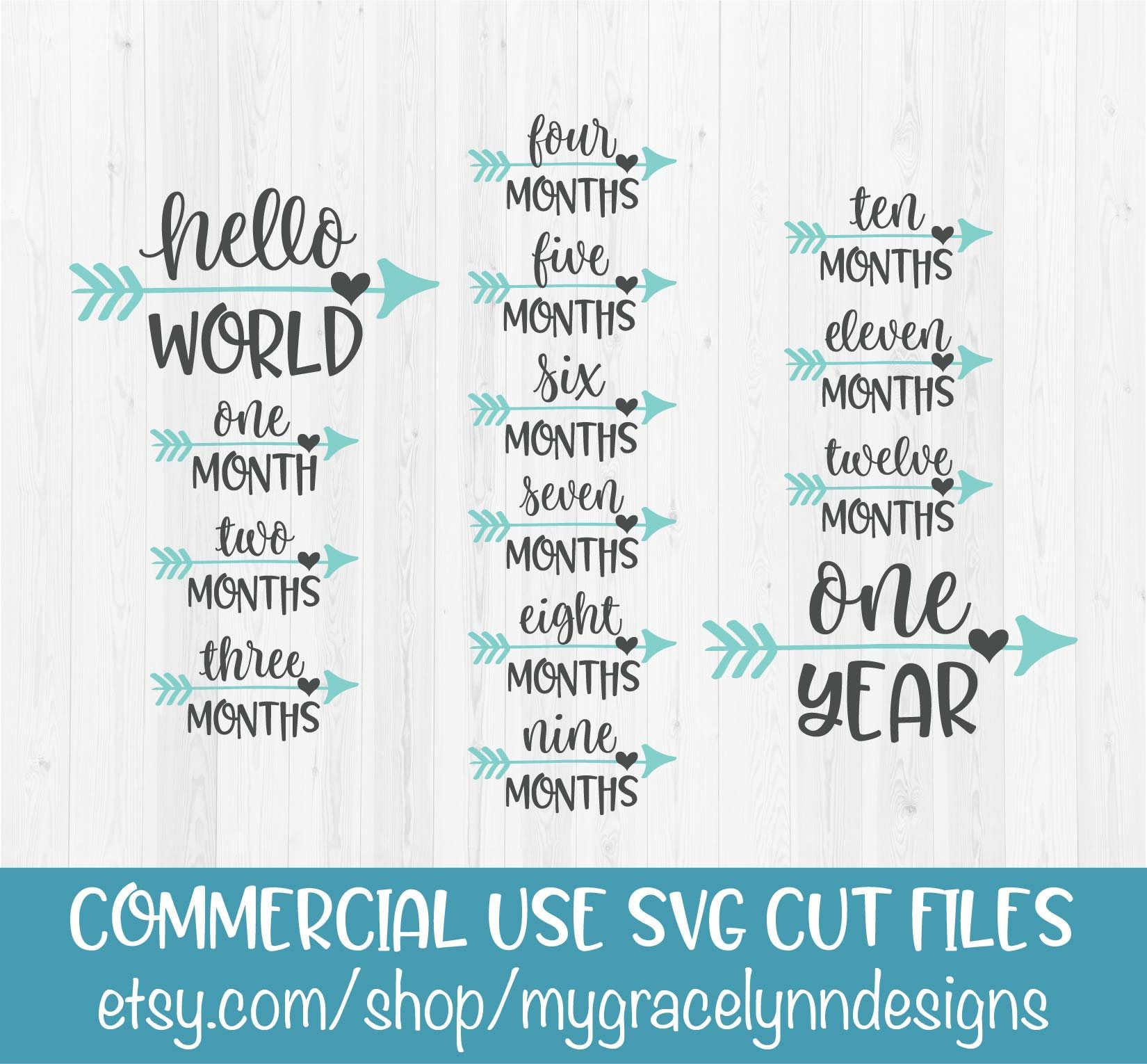 Monthly Milestones Svg Baby Months Svg Cameo File Dxf File Silhouette File Cricut File Cuttable File Month Set Craft Supplies Tools Visual Arts