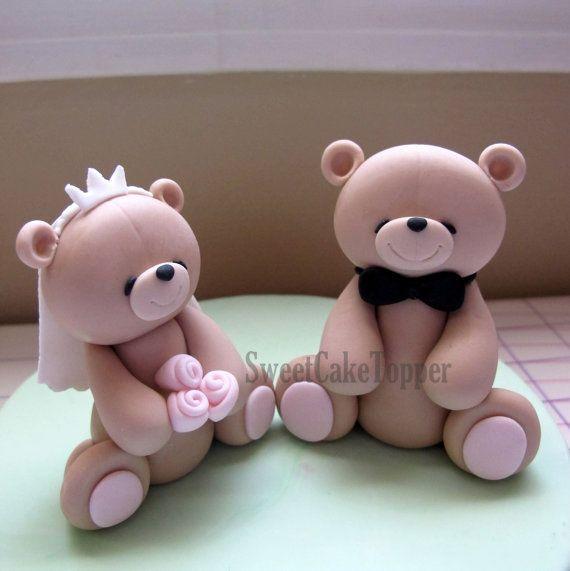 Groom And Bride Teddy Bear Wedding Cake Topper Handmade