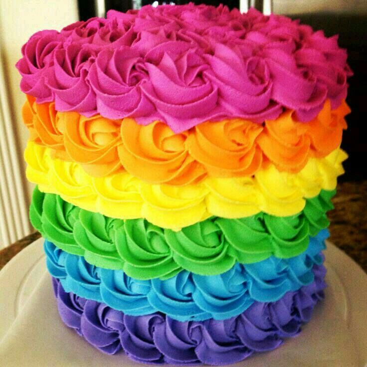 Types Of Cake Decorating : Pin by Veronica Liliana on Tortas Arcoiris Pinterest