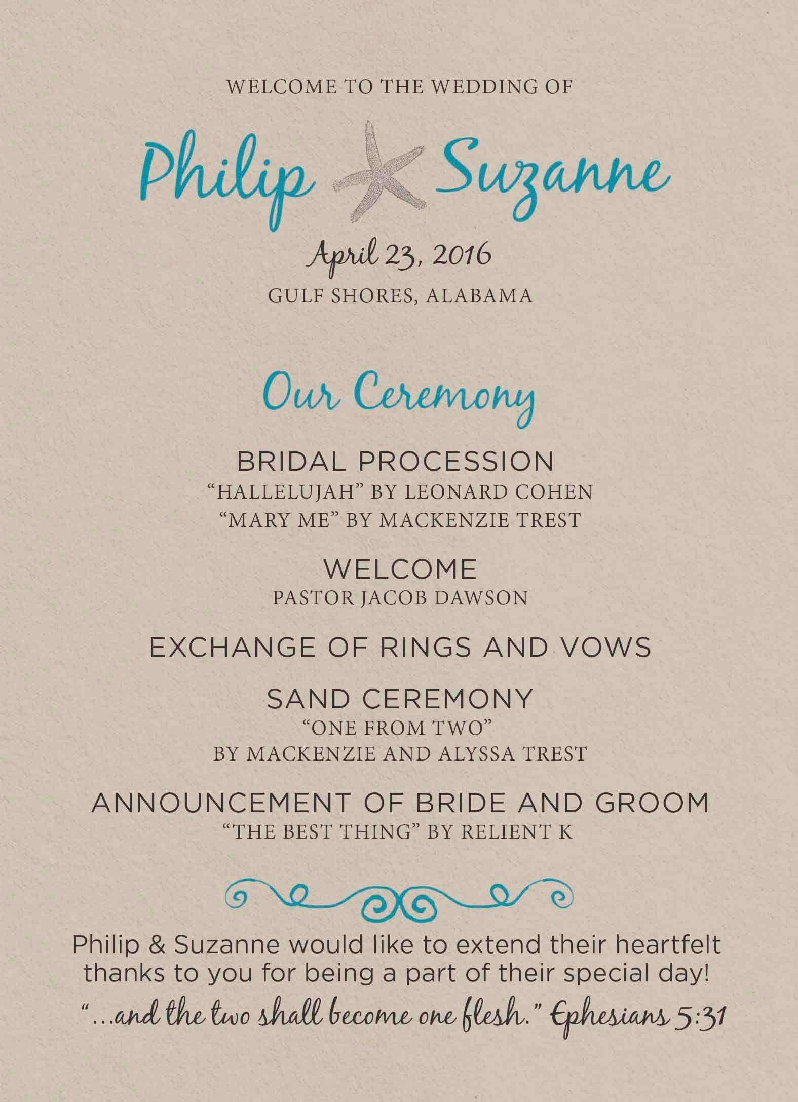 Our Beach Wedding Program Beach Wedding Programs Wedding Programs Beach Wedding Favors Diy