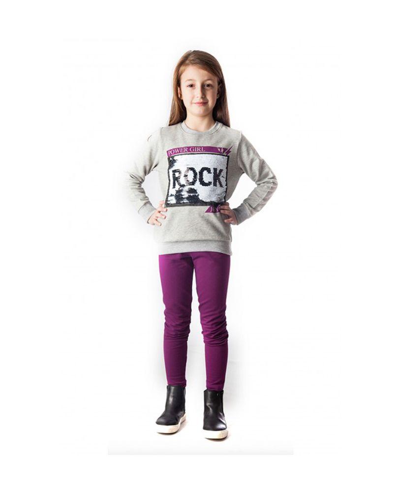 149626dc5dae Σετ Μπλούζα Φούτερ Γκρι   Κολάν Μωβ Rock 88409  σετ  παιδικά ρούχα  κορίτσι   μπλούζα  κολάν  poulain  set