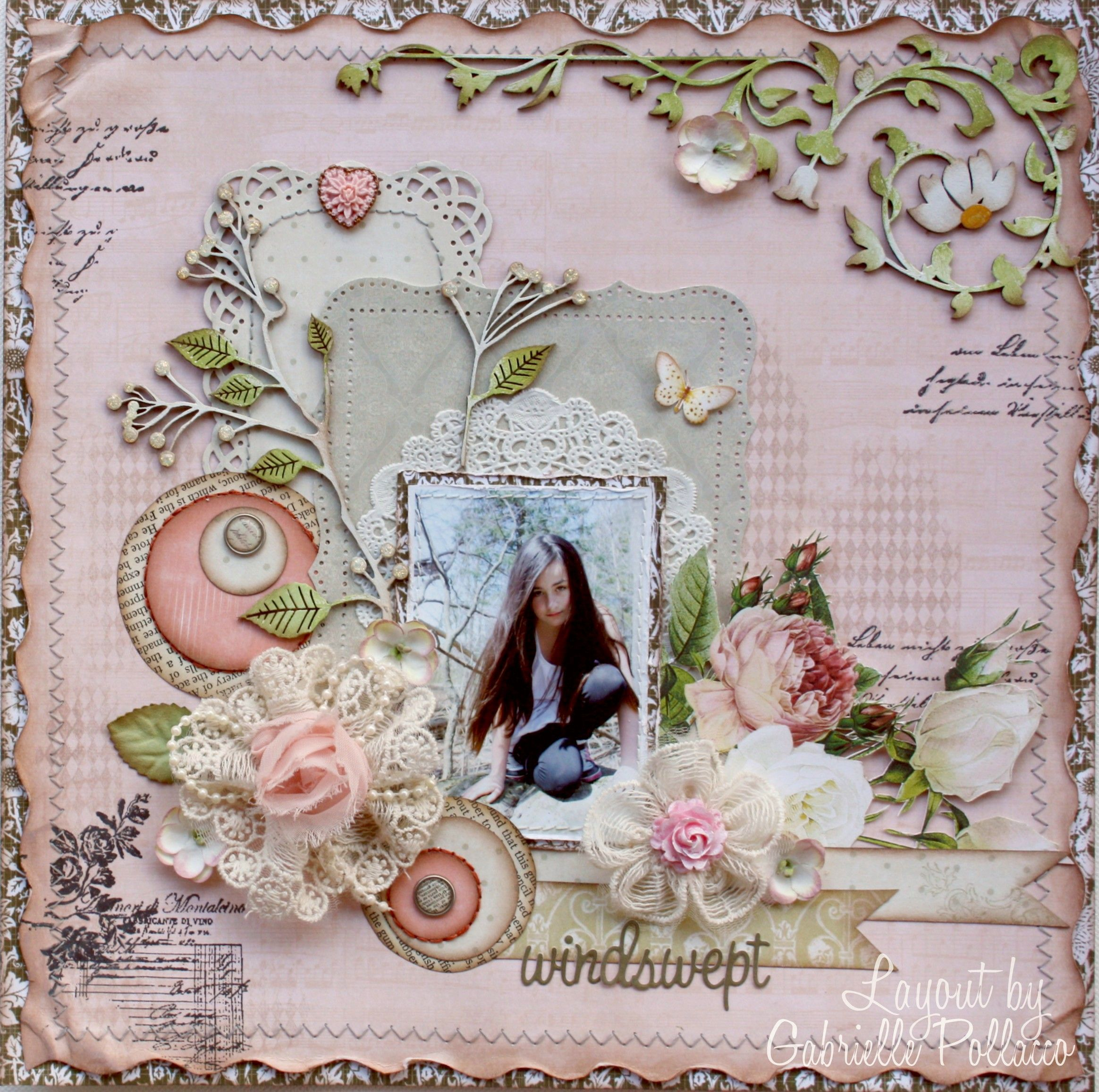 Shabby Pastel Pink Windswept Page...Websters Pages & Dusty Attic DT - Scrapbook.com.