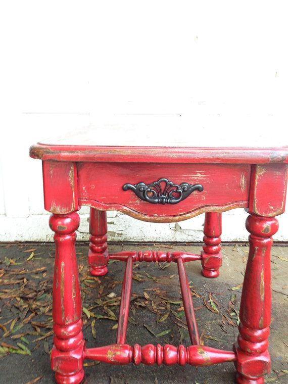 Rustic Barn Red Side Table Shabby Chic Heavily Distressed Hand Painted  Furniture Autumn Decor Mountain Cabin