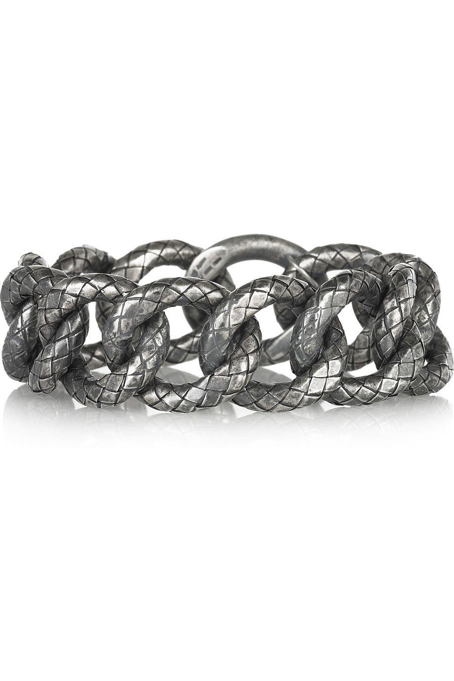 Bottega Veneta|Intrecciato oxidized-silver chain bracelet. Shop the Tough Luxe issue of The Edit magazine.