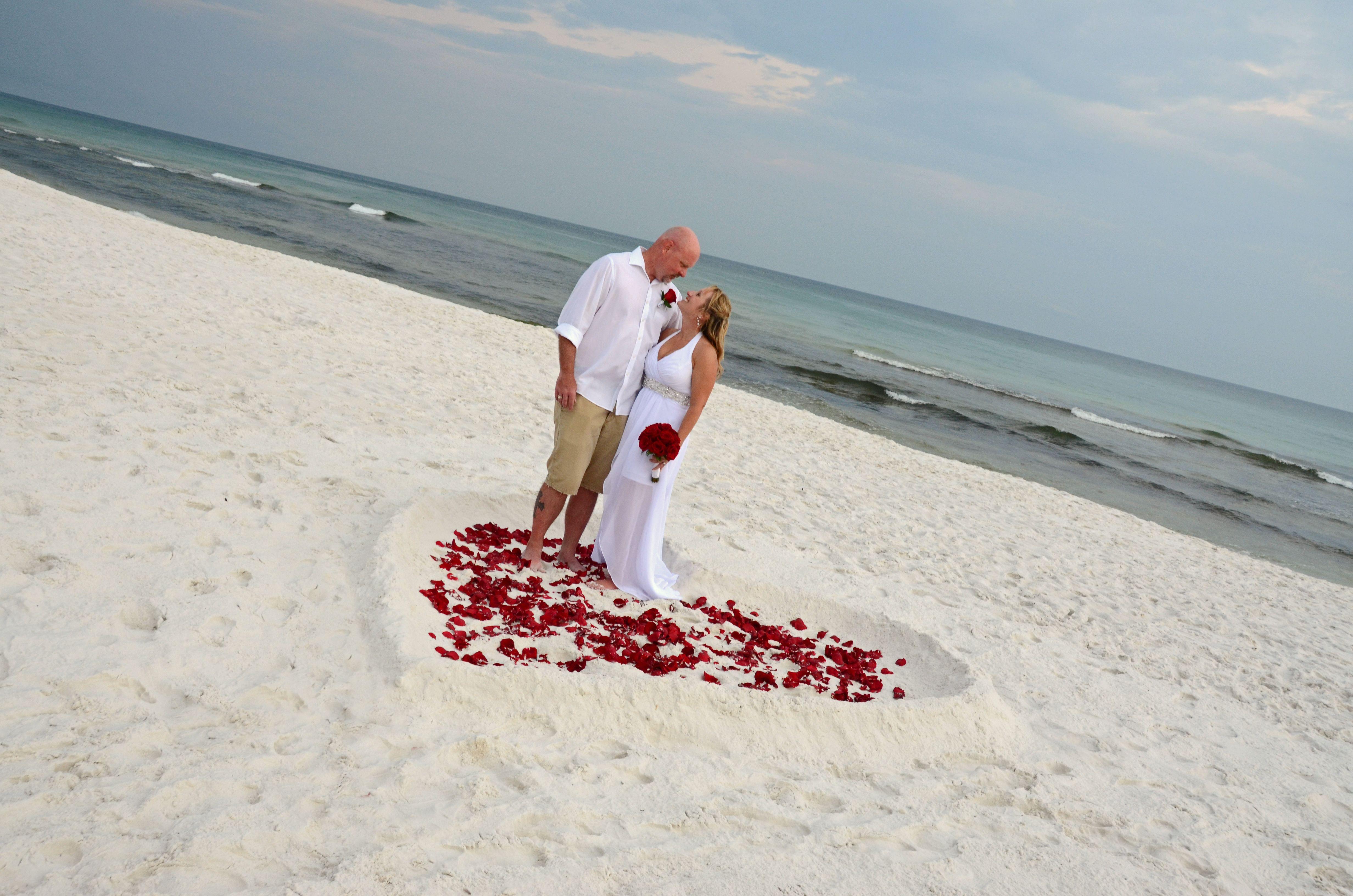 Beach weddings fort walton beach wedding packages sunset beach - Red Rose Petal Filled Heart In The Sand Fort Walton Beach Florida Destination Beach Wedding