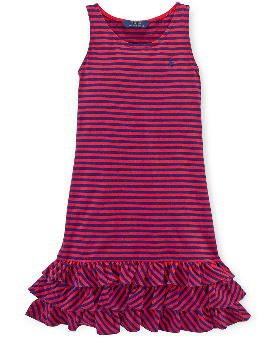 Ralph Lauren Girls' Striped Ruffle Tank Dress