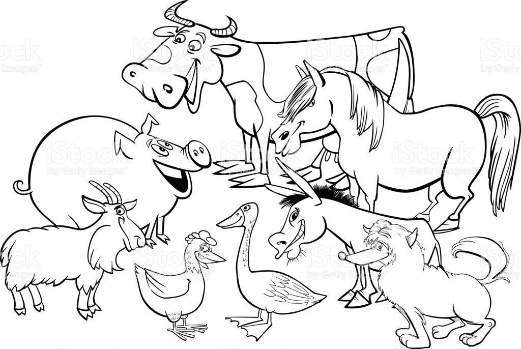 Black and White Cartoon Illustration of Farm Animal