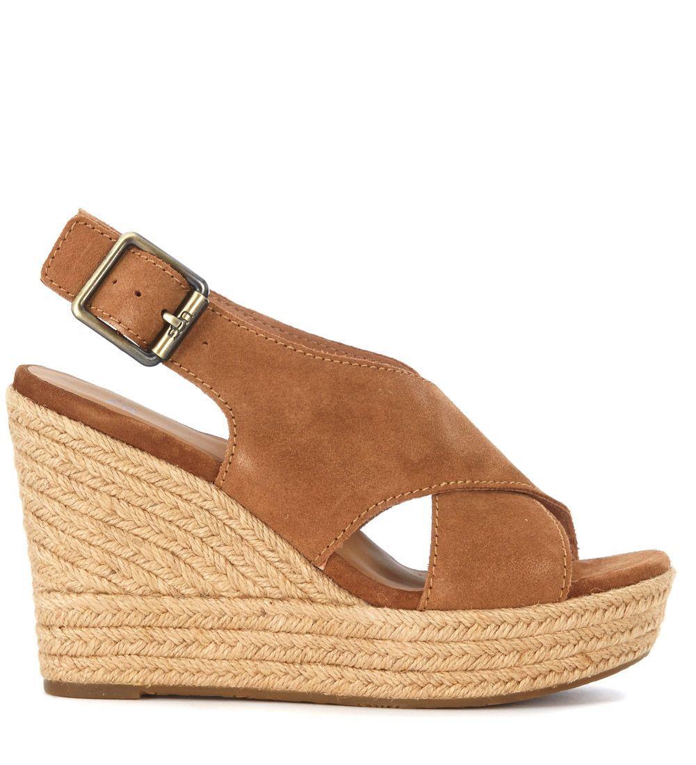 447f8662747 UGG UGG HARLOW BROWN SUEDE WEDGE SANDAL.  ugg  shoes