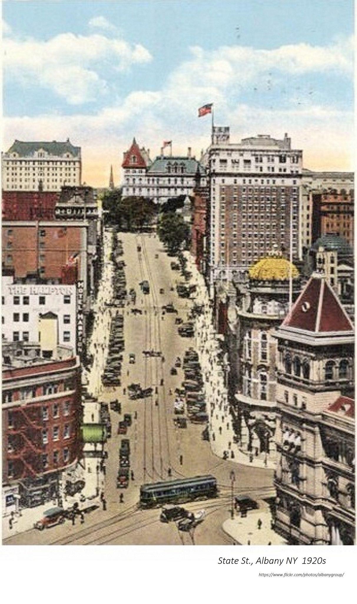 Statet St 1920s Albany Ny Albany New York Troy New York Birds Eye View