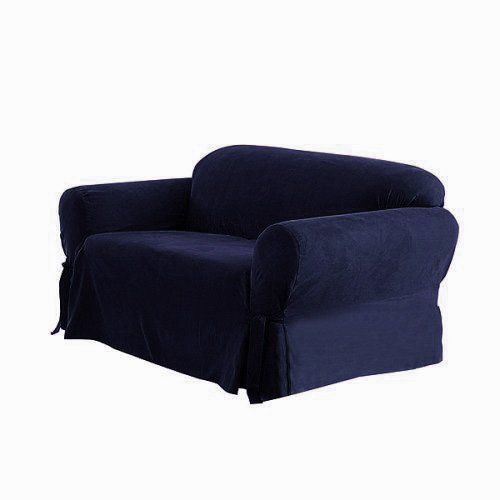 Soft Micro Suede Solid Navy Blue Sofa Slipcover 1 Piece Couch Cover Loveseat Covers Loveseat Slipcovers Slipcovers