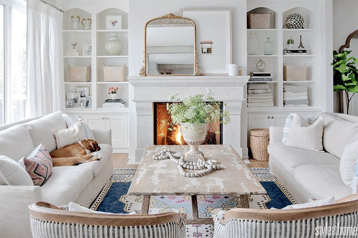 Jillian Harris's home is washed in a beachy white, cream and blue palette | Style at Home