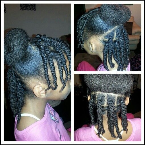 Twists And A Bun Kids Natural Hair Natural Hairstyles For Kids Hair Styles Natural Hair Styles