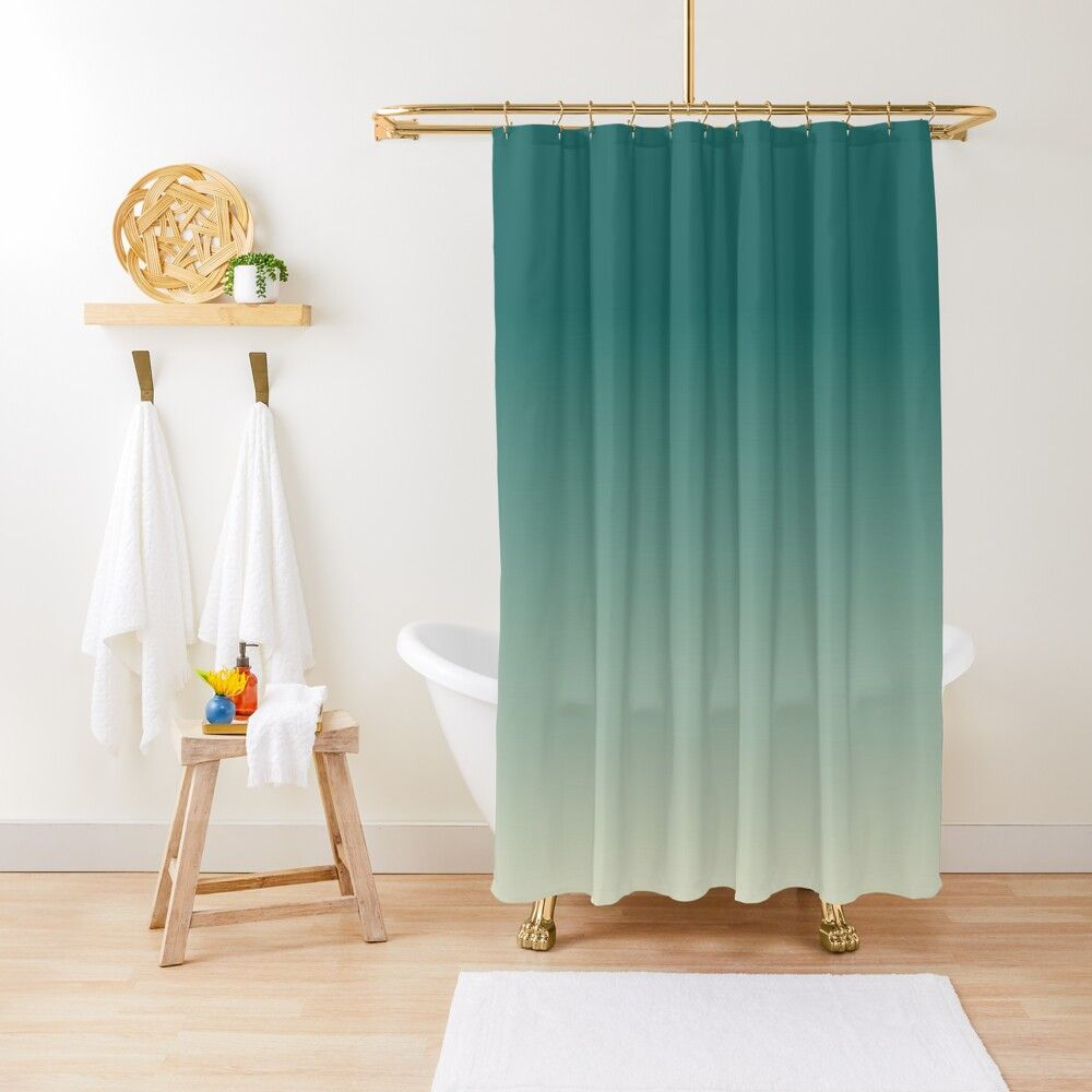 Green Lands Minimalist Green Gradient Ombre Shower Curtain By
