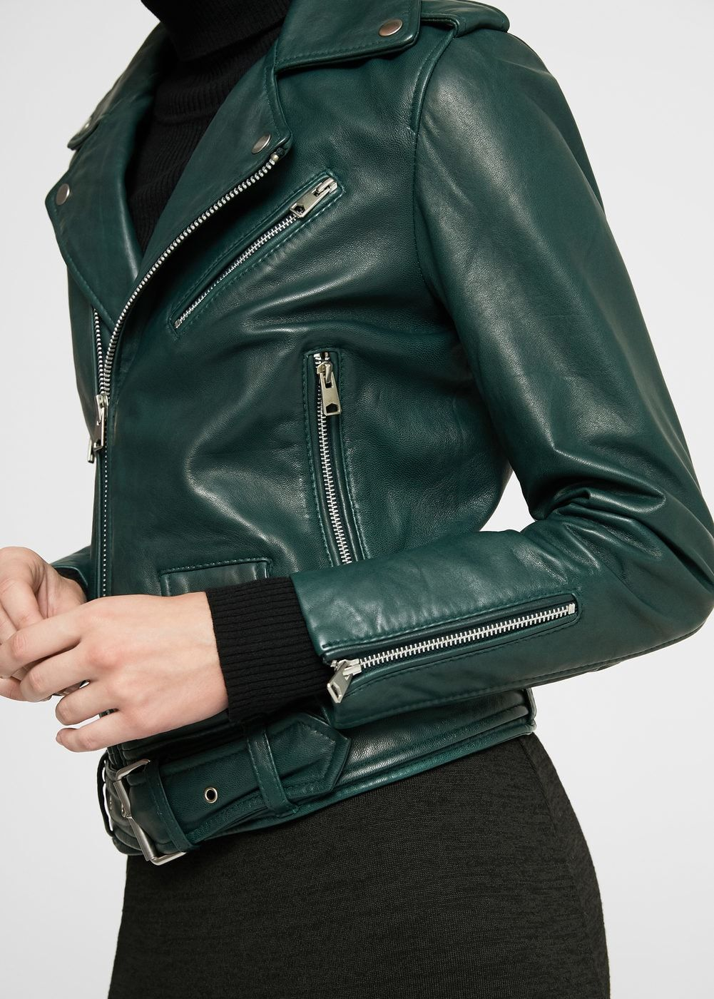 Leather biker jacket Women Green leather jackets