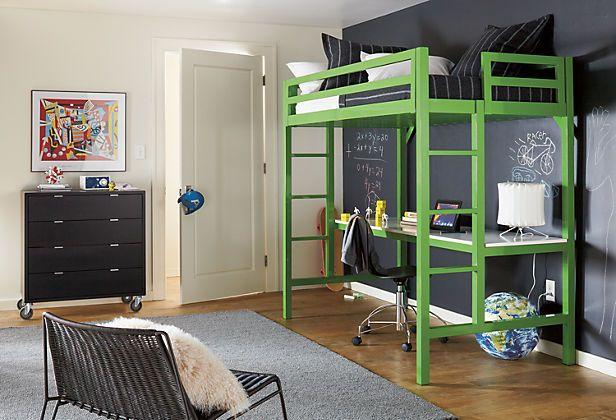 Etagenbett Grün : Kleines kinderzimmer hochbett lernplatz unten grün