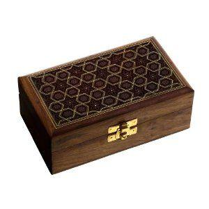 Boîte en bois et laiton - Coffret rangement bijoux fait main: ShalinCraft: Amazon.fr: Bijoux