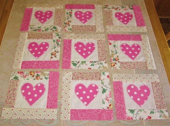 "Set of 12 Appliqued and Pieced Shabby Pink Polka Dot Hearts 8"" x 8"" Quilt  Blocks"