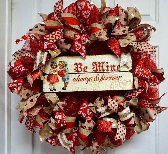valentine wreath valentine mesh wreath by texascaseyscreations