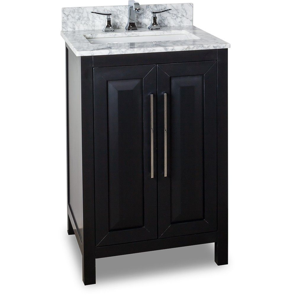 24 Inch Bathroom Vanity Black Finish Carrera White Marble