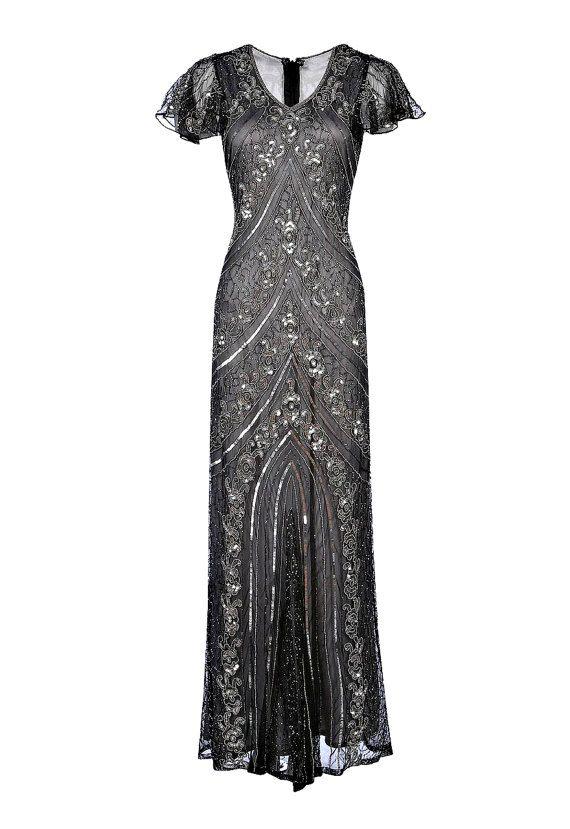 Lima Grey Embellished Flapper Dress, 1920s Great Gatsby Dress ...
