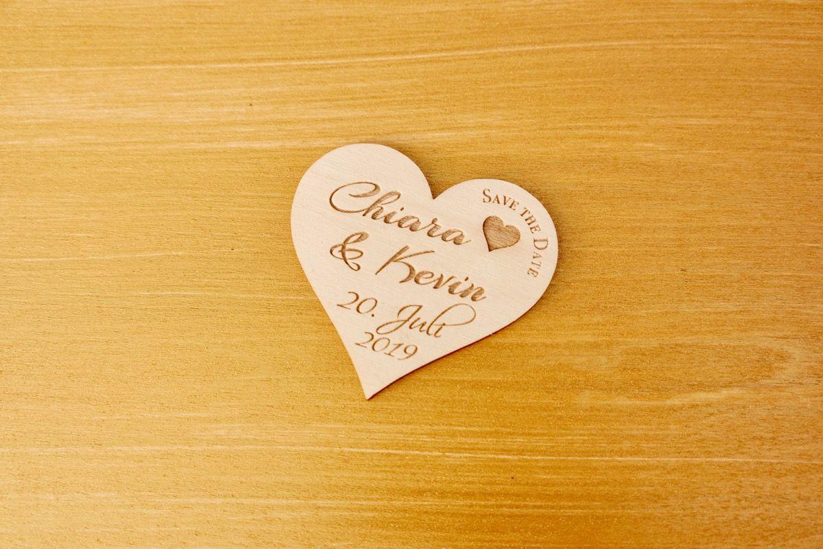 Polterabend Karte.5er Set Save The Date Karte Herz Aus Holz Mit Gravur Hochzeit