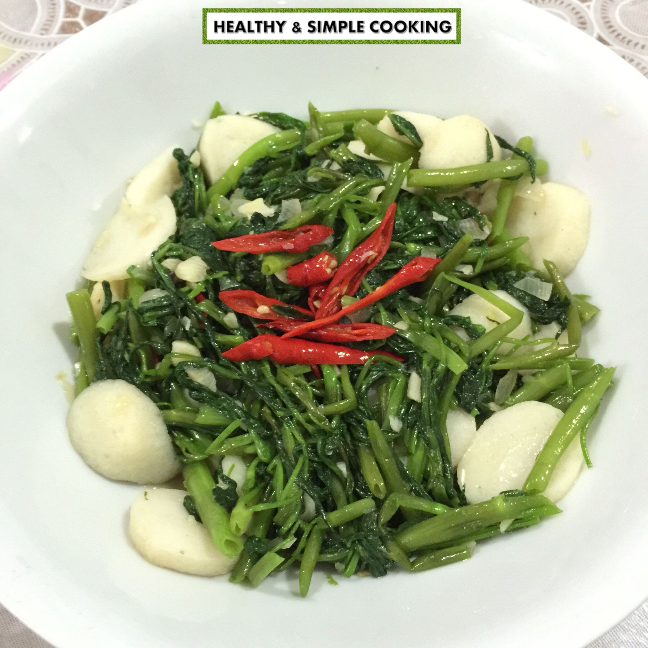 Sautéed Water Spinach With Fishball Tumis Kangkung Bakso Ikan Follow My Instagram Healthysimplecooking For Recipe Tumis Bakso Kangkung