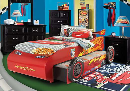 Shop for a disney cars lightning mcqueen 7 pc bedroom at for Boy car bedroom ideas