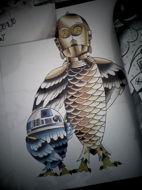 R2d2 tattoo r2d2 c3po tattoo sketches bottropkustomkulture flickr photo