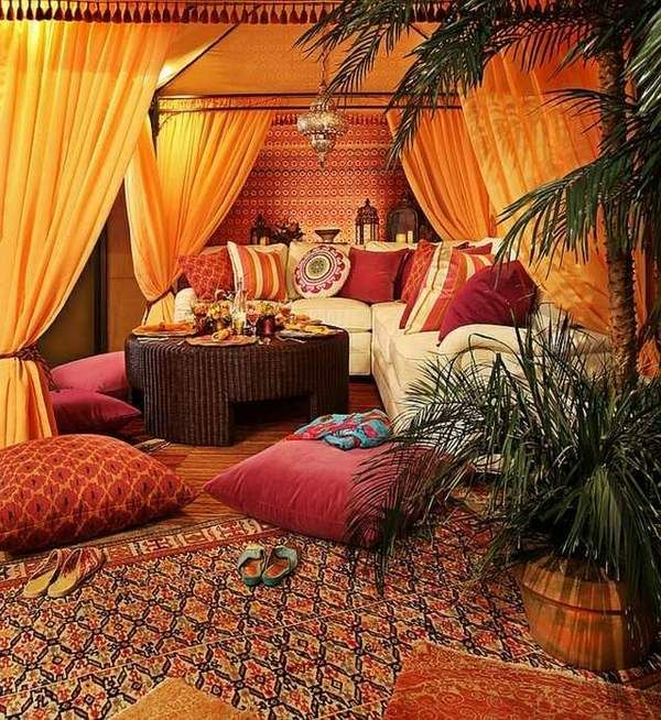 living room moroccan style floor cushions carpet curtains palm ...