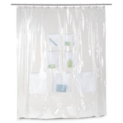 Vinyl Shower Curtain With Mesh Pockets Vinyl Shower Curtains