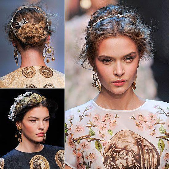 Party Season Hair Inspiration Dolce Gabbana S Romantic Up Do Bridal Hair Accessories Runway Hair Wedding Hairstyles