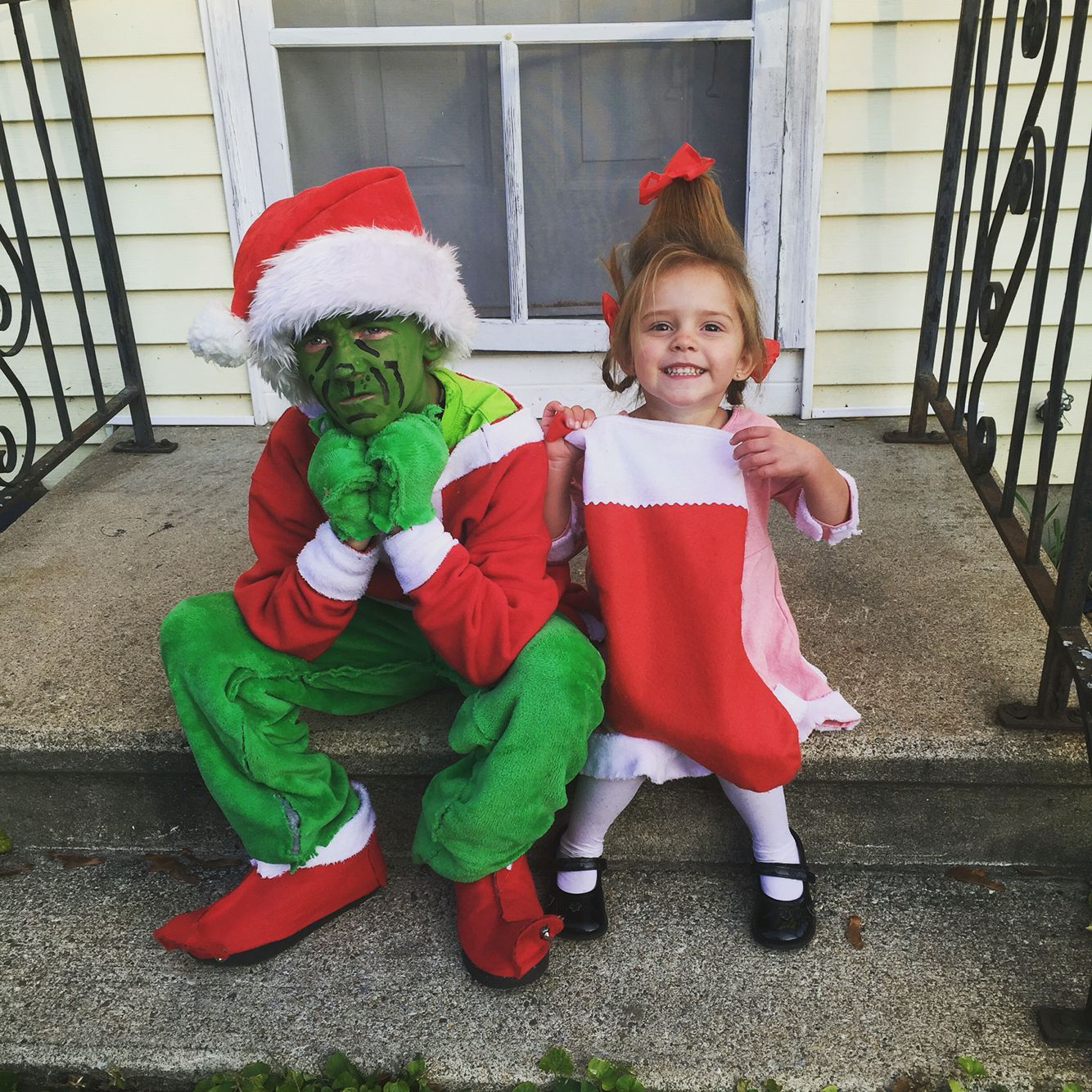 DIY grinch and Cindy Lou Who Halloween costumes!! Even a stocking as a candy bag... We shouldu0027ve won some kind of award!!! #DIY #halloweencostume #grinch ...  sc 1 st  Pinterest & DIY grinch and Cindy Lou Who Halloween costumes!! Even a stocking as ...