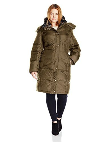 ac188e2d373 Awesome London Fog Women s Plus Size Fur Collar Down with Hood