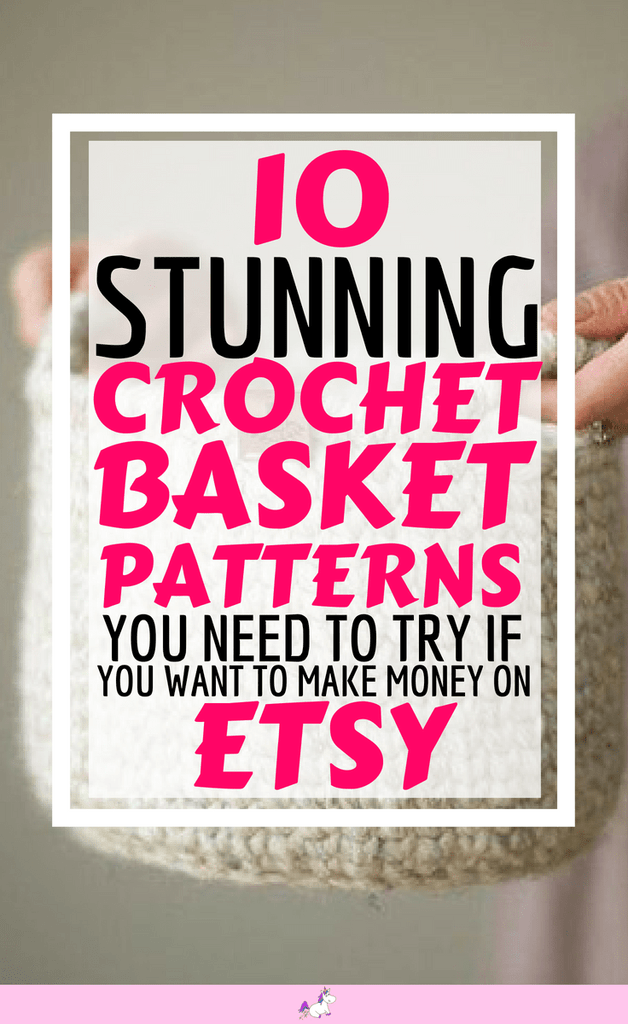 10 Easy Crochet Basket Patterns From Etsy That You Can Make & Sell #crochetformoney 10 Stunning crochet basket patterns you need to try if you want to make money on Etsy #makemoneyfromhome #craftstosell #crochetformoney