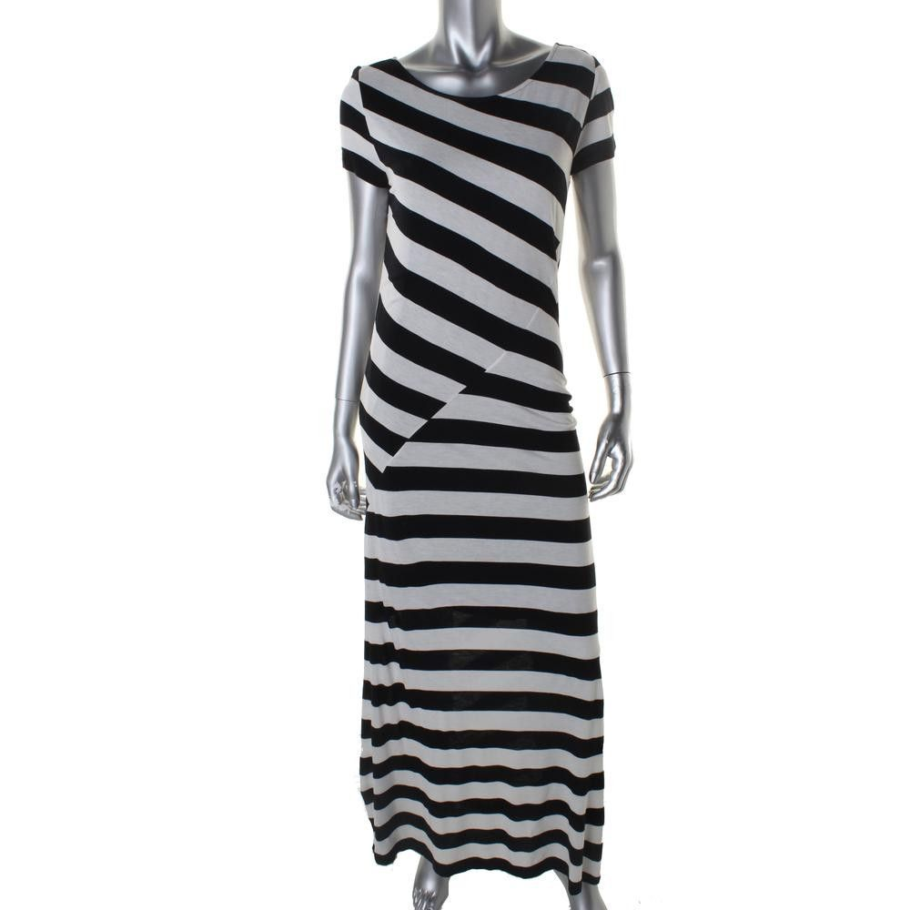 DKNYC Womens Striped Cap Sleeves Maxi Dress