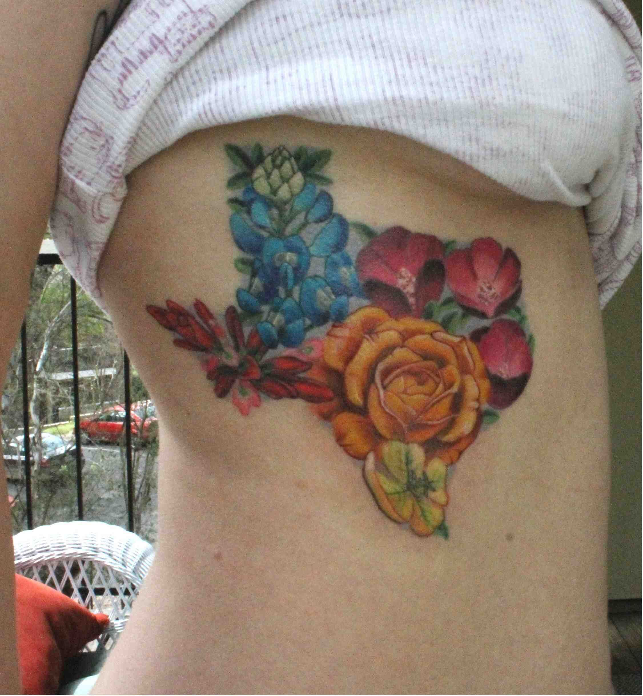 Texas flowers in the shape of Texas, done by Sando at Dovetail Tattoo in Austin, Texas. - Imgur