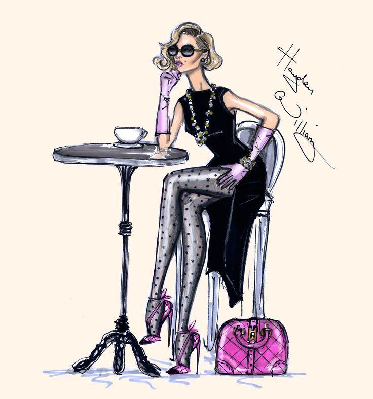 Девушка в кафе рисунок