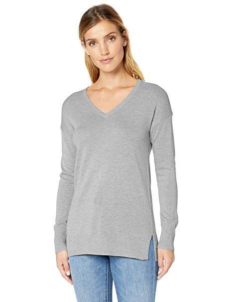 ed90b48045c6 Amazon Essentials Women s Lightweight V-Neck Tunic Sweater ...