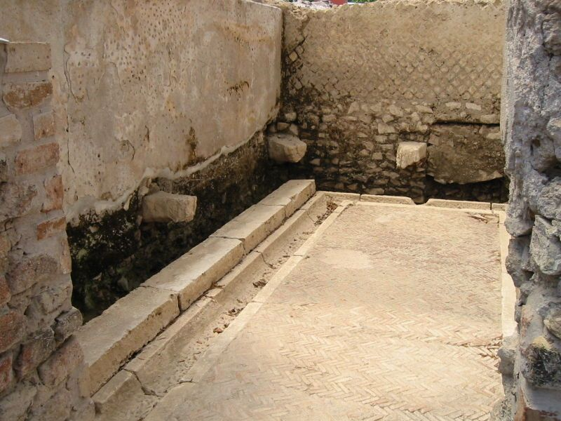 Latrine in the the ancient city of Minturno, Italy, showing both the channel that ran under the seats and the channel for washing in front of the seats.