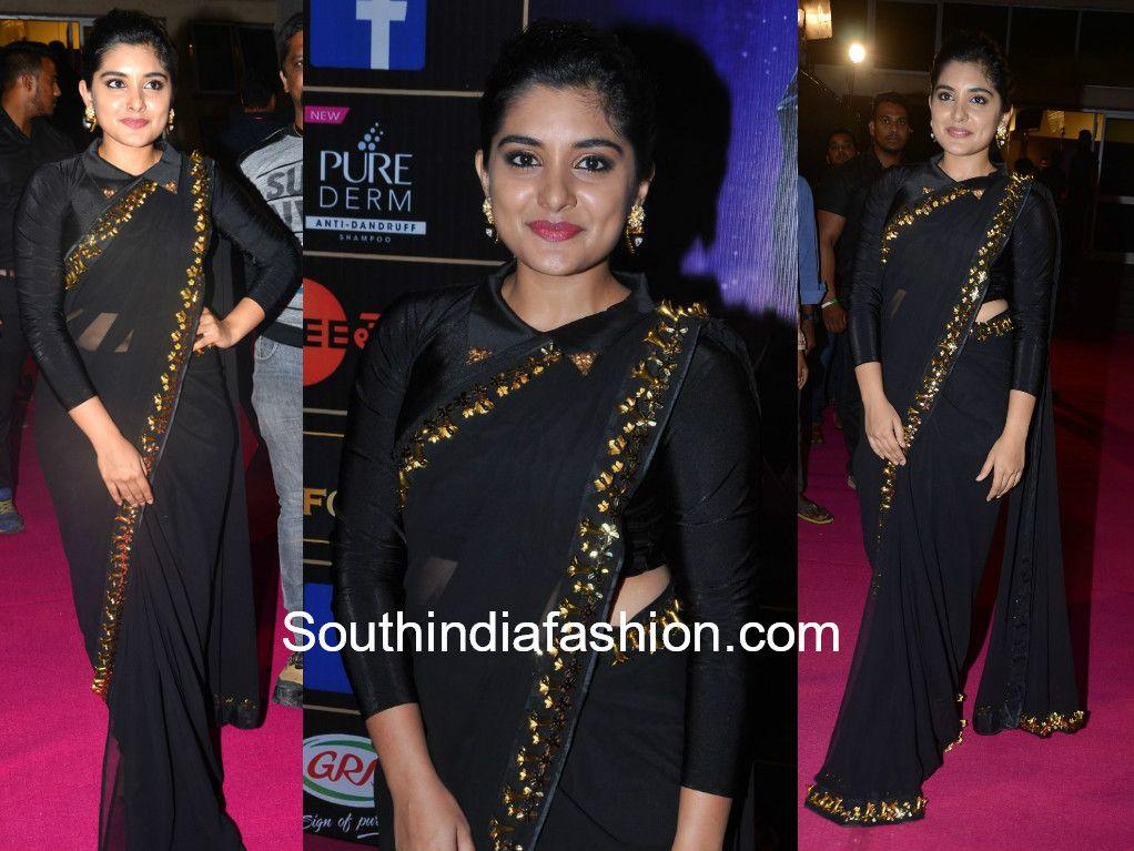 ab271a6b6e46fc Nivetha Thomas in a black saree at Zee Telugu Apsara Awards 2018 ...