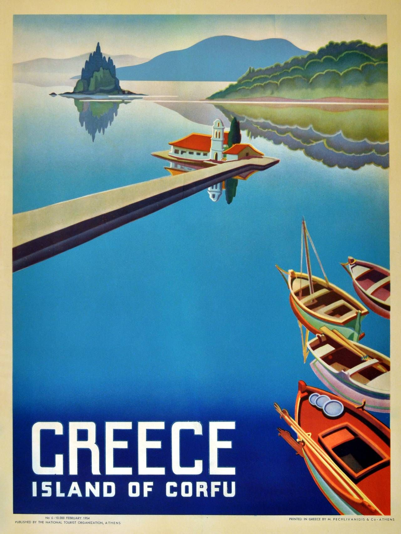 Original Vintage 1954 Travel Poster Advertising, the Island