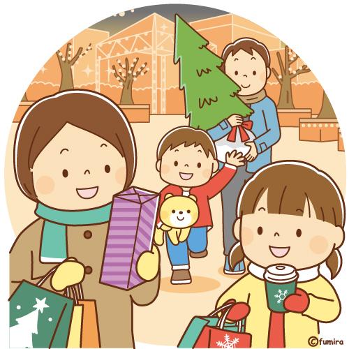 クリスマスの買い物をする家族のイラスト ソフト 子供と動物の