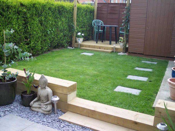 Garden Design Decking Ideas railway sleepers small garden design ideas small patio deck lawn