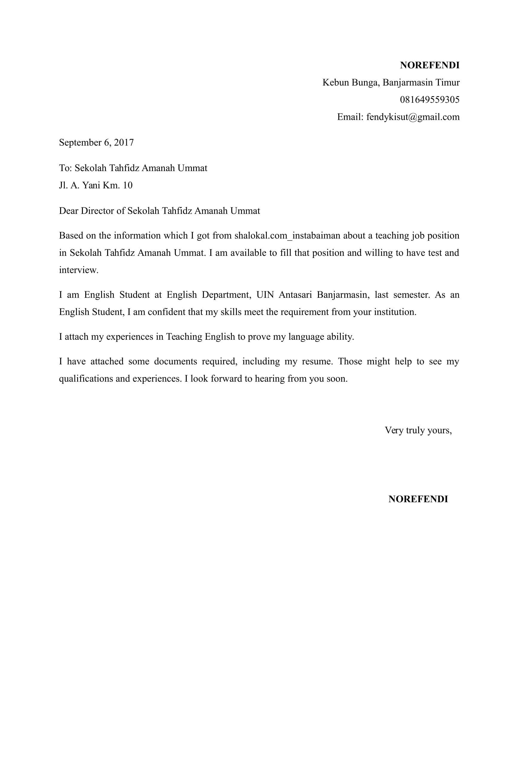 Surat Lamaran Kerja Guru Bahasa Inggris Documents Bahasa