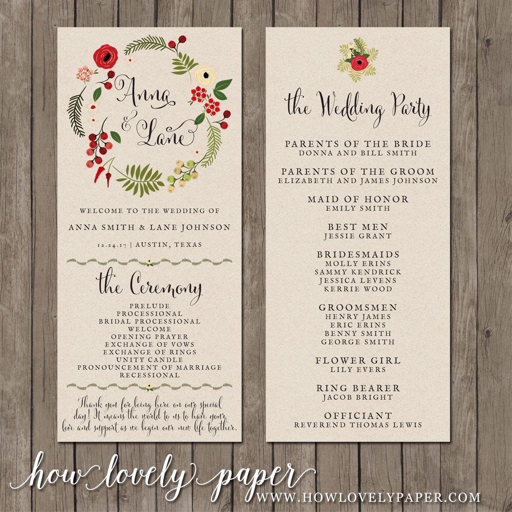 Printable Wedding Program The Holiday Spirit Collection By Howlovelypaper On Etsy Https A Professionalwedding Programswedding Stationerywedding