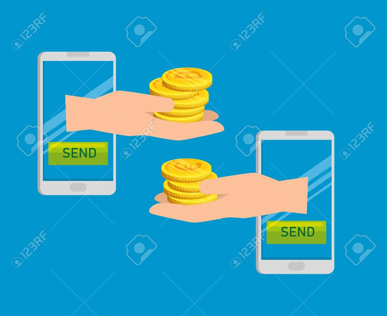 smartphone with bitcoin currency exchange financial vector illustration ,