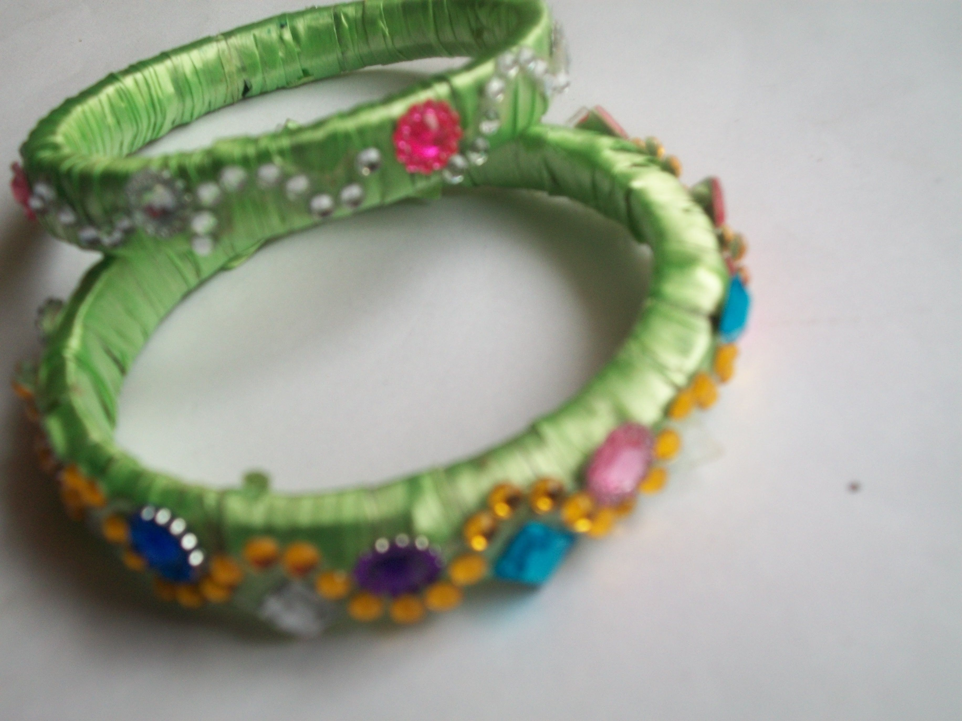 How to make designer jewellery bangles with plastic ribbon and