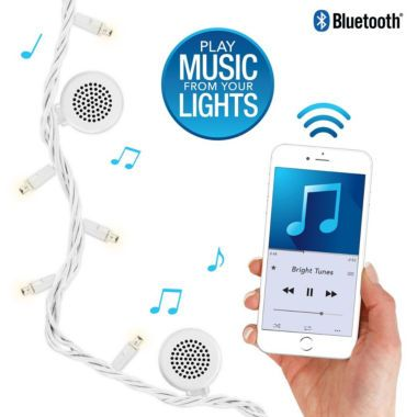 Bluetooth Speaker String Lights Bright Tunes Brt100 Indooroutdoor White Led String Lights With